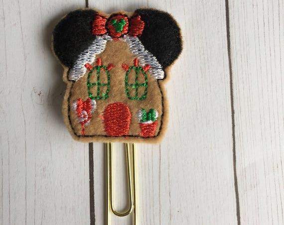 Miss Mouse Gingerbread House planner Clip/Planner Clip/Bookmark. Gingerbread Planner Clip. Mouse Planner Clip. Holiday Planner Clip