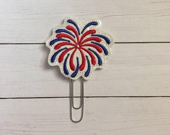 Glitter Fireworks Planner Clip/Planner Clip/Bookmark. Patriotic Planner Clip. 4th of July Clip. Glitter Planner Clip. Easter Planner