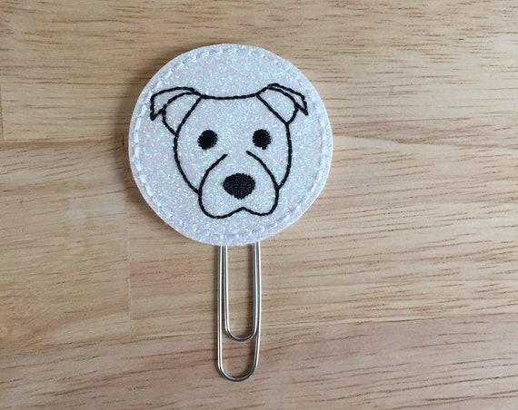 White Glitter Vinyl Dog Clip/Planner Clip/Bookmark. Pit Bull Planner Clip. Dog Planner Clip. Animal planner clip. Pitty Planner Clip