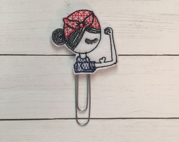Girl Fighter Clip/Planner Clip/Bookmark. Strong Female Planner Clip. Girl Planner Clip. Rosie Planner Clip