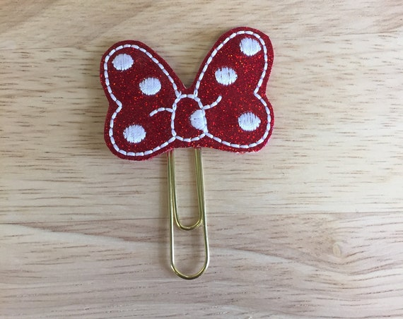Glitter Polka Dot Mouse Bow Clip/Planner Clip/Bookmark. Mouse Bow Planner Clip. Mouse Planner Clip. Minnie Bow