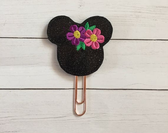 Mouse With Flowers Planner Clip/Planner Clip/Bookmark. Glitter Mouse Planner Clip. Spring Planer Clip. Mouse Planner Clip