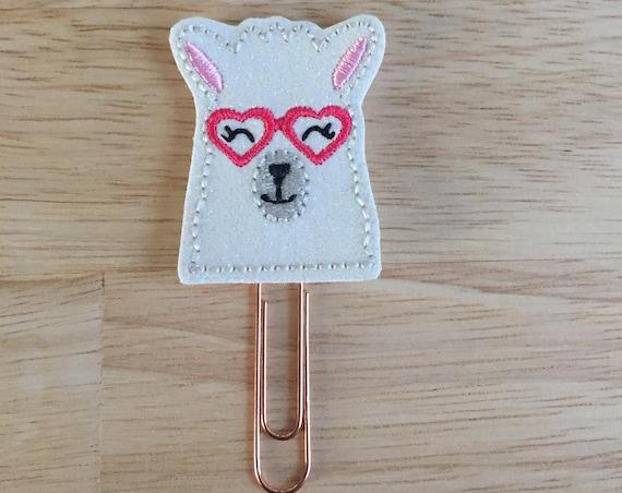 Glitter Valentine Llama Clip/Planner Clip/Bookmark. Valentine Planner Clip. Llama Planner Clip. Animal Planner Clip. Glitter Llama
