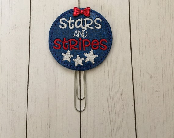 Glitter Stars & Stripes Planner Clip/Planner Clip/Bookmark. Patriotic Planner Clip. 4th of July Clip. Glitter Planner Clip.