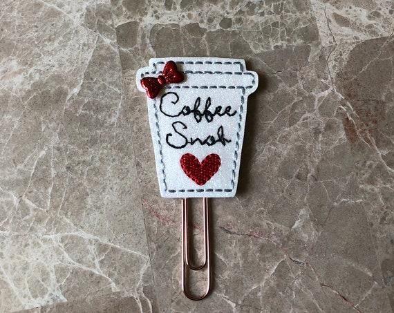 Glitter Coffee Snob Cup Planner Clip/Planner Clip/Bookmark. Glitter Planner Clip. Coffee Planner Clip. Coffee Snob Planner Clip