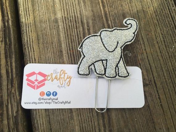 Silver Glitter Elephant Clip/Planner Clip/Bookmark.