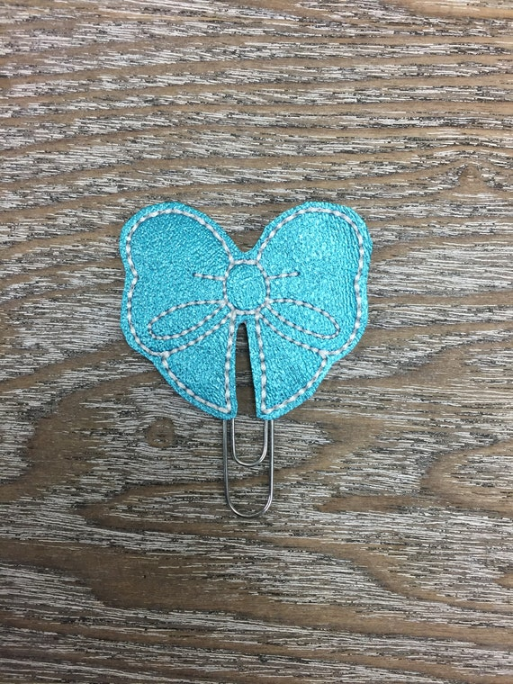 Teal Vinyl Bow planner Clip/Planner Clip/Bookmark. Bow Planner Clip. Glitter planner clip. Teal Bow. Fancy Bow Planner Clip