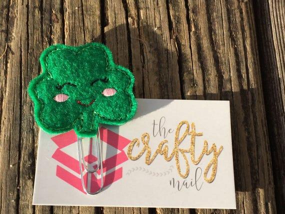 St. Patrick Happy Clover Clip/Planner Clip/Bookmark. St. Patrick's planner clips. St. Patty's