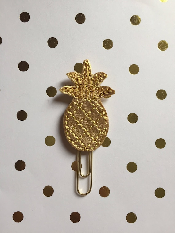 Gold glitter pineapple planner Clip/Planner Clip/Bookmark. Pineapple planner clip