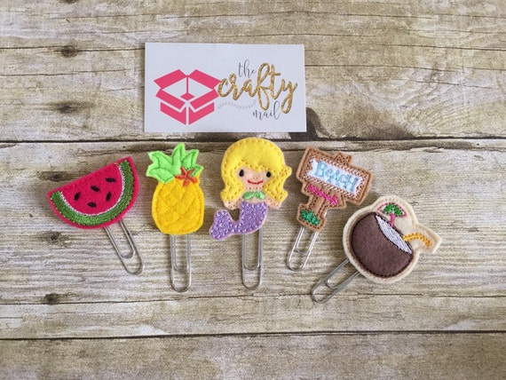 Sweet Summertime Paper Planner Clips set of 5