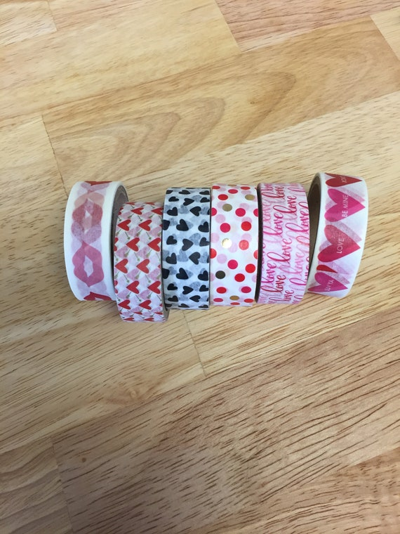 Valentine Washi Tape/Paper Tape/Decorative Tape/Packaging. Holiday washi. 6 Styles To Choose From. Heart Washi. Conversation Hearts Washi