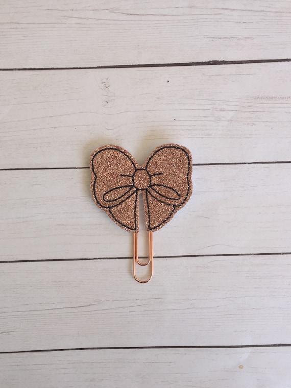 Rose Gold Glitter Bow planner Clip/Planner Clip/Bookmark. Bow Planner Clip. Glitter planner clip. Rose Gold Planner Clip