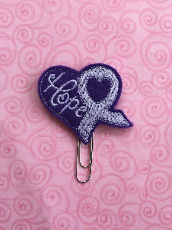 Purple & Lavender Hope Awareness Ribbon Clip/Planner Clip/Bookmark. Awareness Planner Clip. Ribbon Planner Clip. Hope Planner Clip