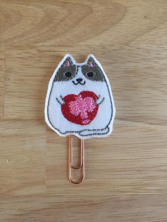 Cat With Chocolates Planner Clip. Valentine Planner Clip. Cat Planner Clip. Valentine Cat Planner Clip.