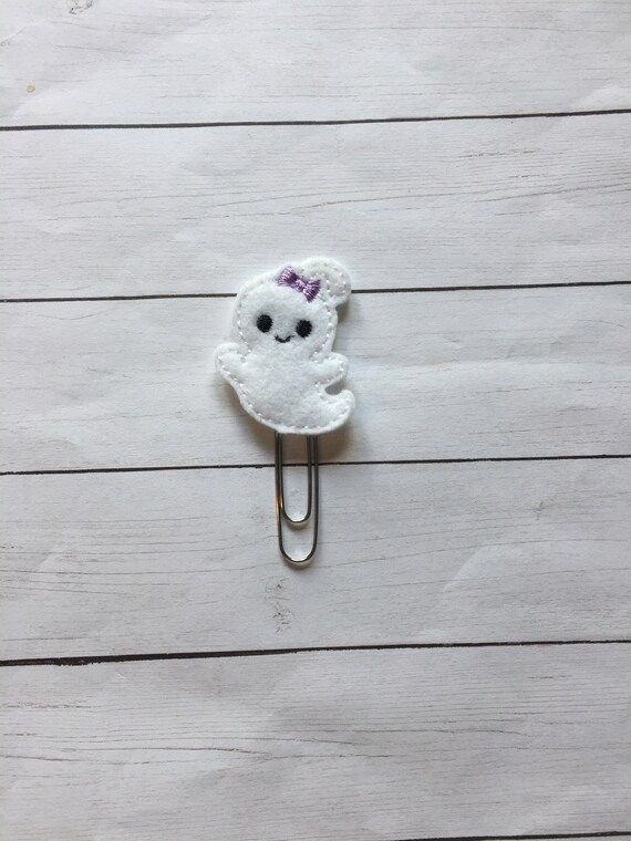 Ghost with lavender bow planner Clip/Planner Clip/Bookmark. Ghost Planner Clip. Fall Planner Clip. Halloween planner clip. Ghost Paper clip
