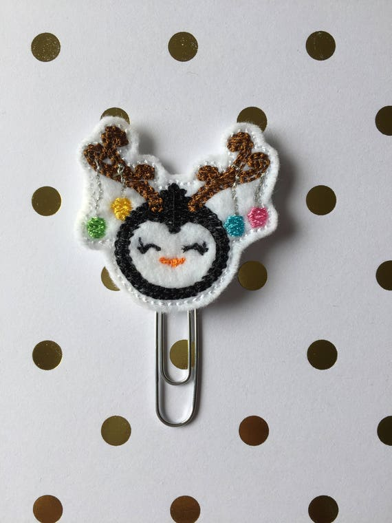 Holiday Penguin planner Clip/Planner Clip/Bookmark. Holiday planner clip. Penguin planner clip. Christmas planner clip