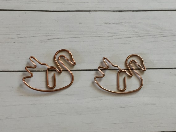 Rose Gold Swan Paperclip/, planner clip, bookmark. Rose Gold Planner Clip. Swan Planner Clip. Animal Planner Clip