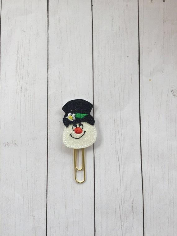 Vinyl Frosty Clip/Planner Clip/Bookmark. Winter Planner Clip. Christmas Planner Clip. Snowman Planner Clip