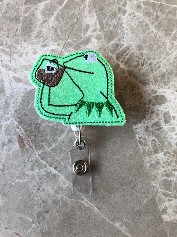 Kermit Sips Tea Badge Reel/None Of My Business Badge Reel/Character Badge Reel/Nurse Badge Reel/