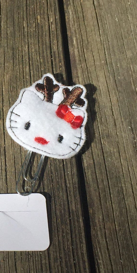 Christmas Reindeer Kitty Planner Clip/Paper Clip/Feltie Clip. Christmas planner clips