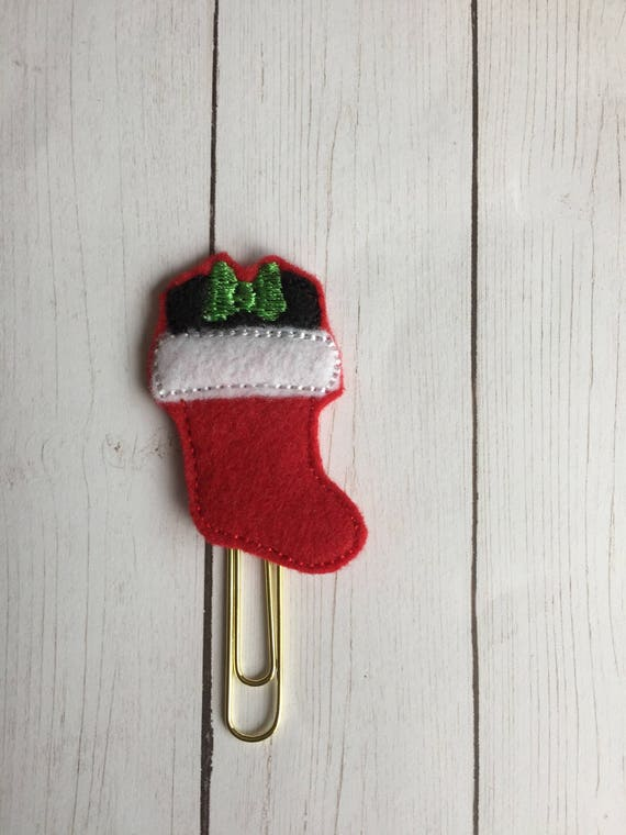 Miss Mouse Stocking planner Clip/Planner Clip/Bookmark. Mouse Planner Clip. Stocking Planner Clip. Christmas planner clip. holiday planner