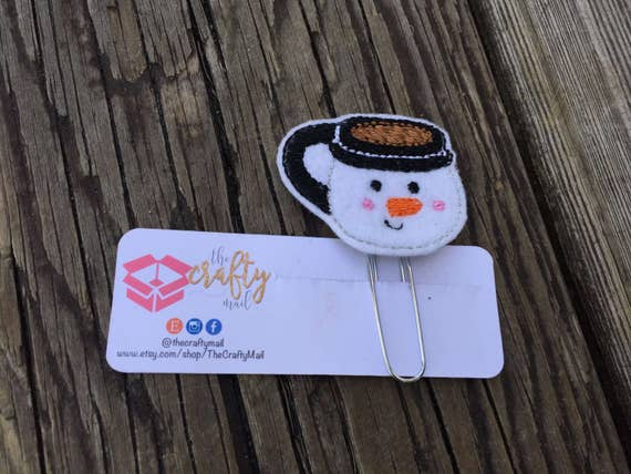 Frosty Coffee Mug Planner Clip/Paper Clip/Feltie Clip. Coffee Planner Clip. Snowman planner clip. Christmas Planner Clip