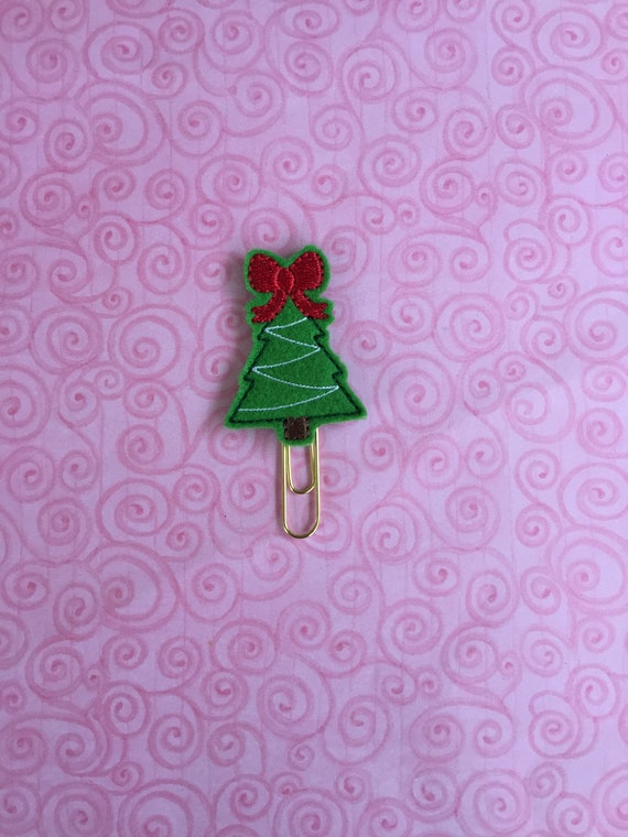 Christmas Tree With Bow Clip/Planner Clip/Bookmark. Tree Planner Clip. Christmas Planner Clip. Bow Planner Clip.