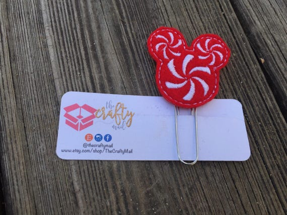 Peppermint swirl Mouse Inspired  Mouse Ears Clip/Planner Clip/Bookmark. Christmas planner clip. Character planner clip
