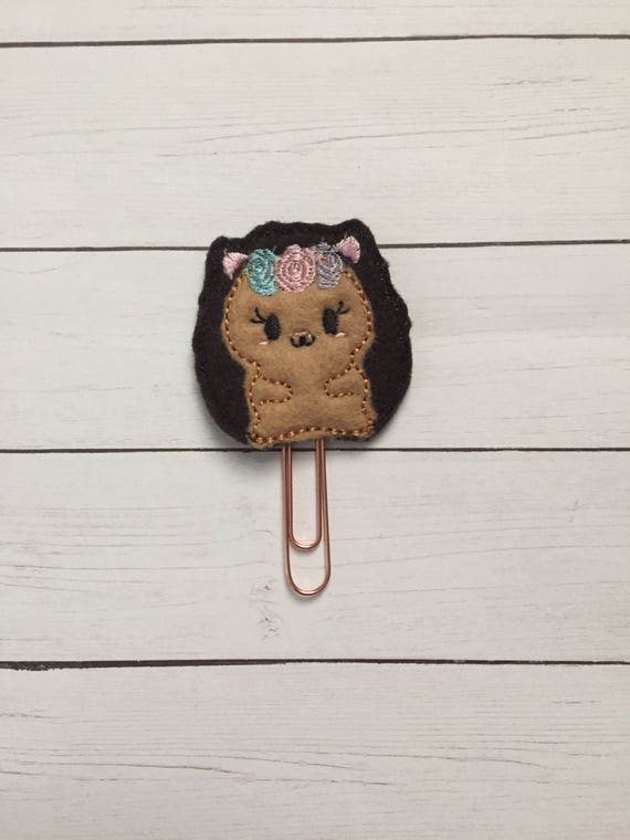 Hedgehog with flowers Clip/Planner Clip/Bookmark. Hedgehog Planner Clip. Animal Planner Clip. Floral Planner Clip