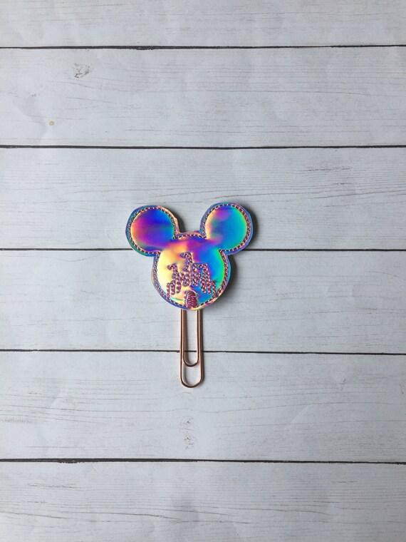 Holographic Mouse Castle Clip/Planner Clip/Bookmark. Mouse Planner Clip. Castle Planner Clip. Glitter Planner Clip. Magical Planner Clip