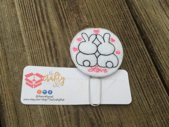 Love Bunnies Clip/Planner Clip/Bookmark. Valentine's planner clips