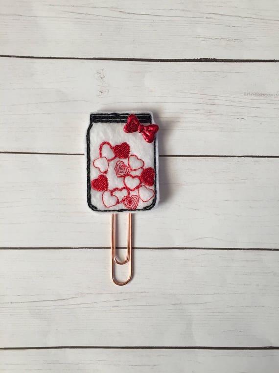 Jar of Hearts planner Clip/Planner Clip/Bookmark. Heart Planner Clip. Love Planner Clip. Valentine Planner Clip. Valentines Clip. Mason Jar