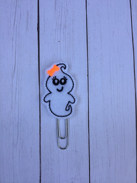 Ghost with orange bow planner Clip/Planner Clip/Bookmark. Holiday Planner Clip. Fall Planner Clip. Halloween planner clip. Ghost Paper clip