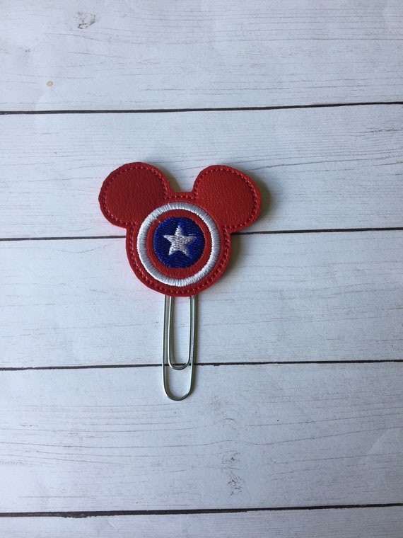 Mr Captain Mouse planner Clip/Planner Clip/Bookmark. Captain Planner Clip. Mouse Planner Clip. Super Hero Planner. Captain America Clip