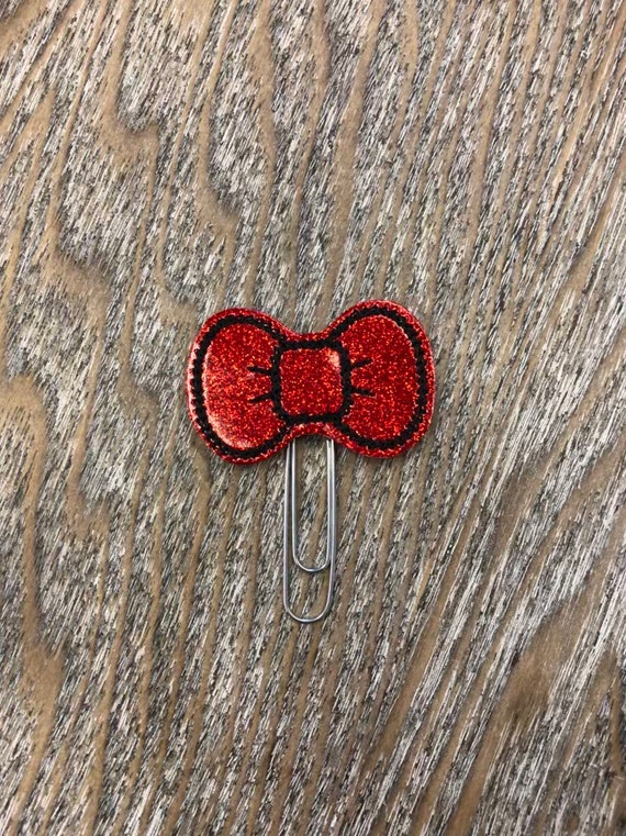 Red Glitter Bow planner Clip/Planner Clip/Bookmark. Bow Planner Clip. Kitty Bow Planner Clip. Hello Bow Planner Clip. Red Bow Clip