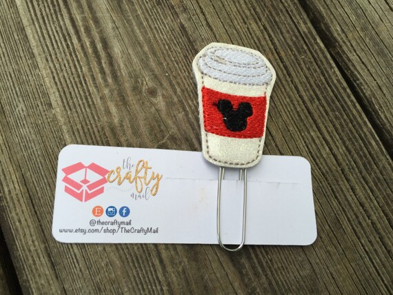 Hot Mouse Coffee Planner Clip/Paper Clip/Feltie Clip. Mouse ears planner clip. Coffee planner clip