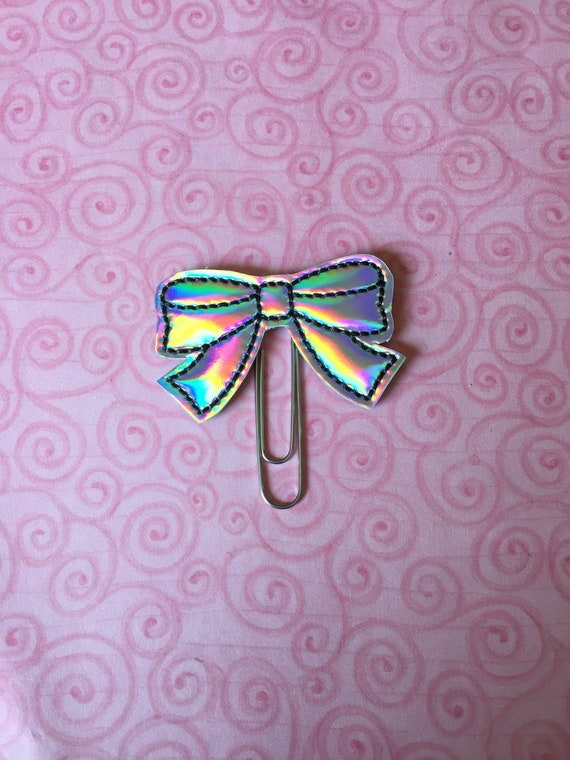 Holographic Dress Bow planner Clip/Planner Clip/Bookmark. Bow Planner Clip. Holo planner clip. Holographic Planner Clip