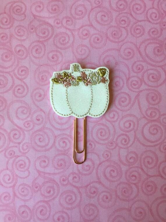 White Glitter Floral Pumpkin planner Clip/Planner Clip/Bookmark. Pumpkin planner clip. fall planner clip.  Floral Pumpkin Clip