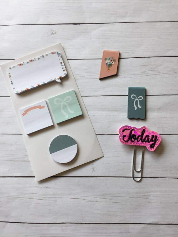 Floral Planner Supplies* Today Planner Clip * Sticky Notes * Magnetic Page Holders * Magnetic BookMarks