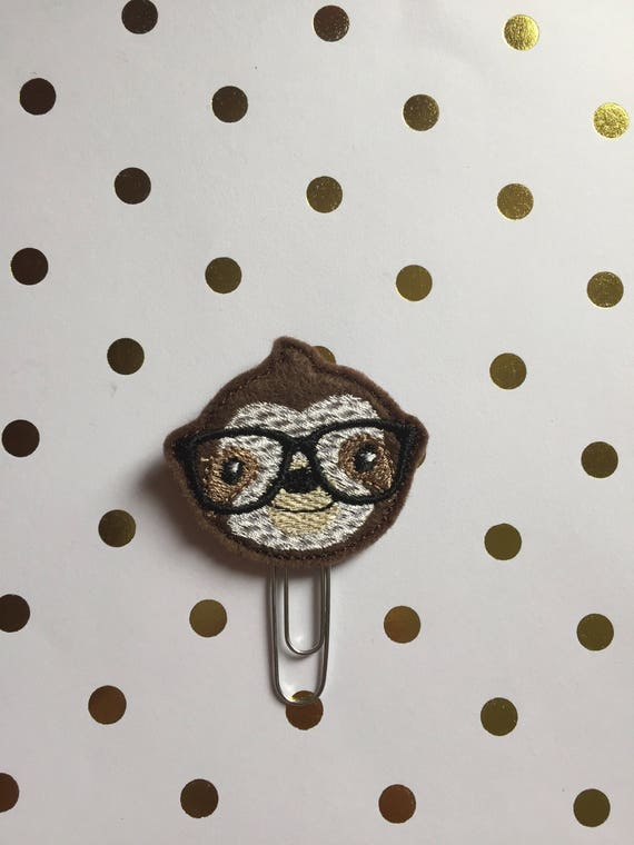 Geeky Sloth Clip/Planner Clip/Bookmark. Sloth Planner Clip. Sloth Paper Clip.