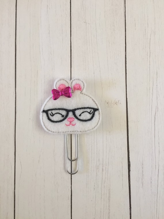 Cute Geeky Bunny Clip/Planner Clip/Bookmark. Bunny Planner Clip. Bunny Planner Clip. Easter Planner Clip. Spring Planner Clip.