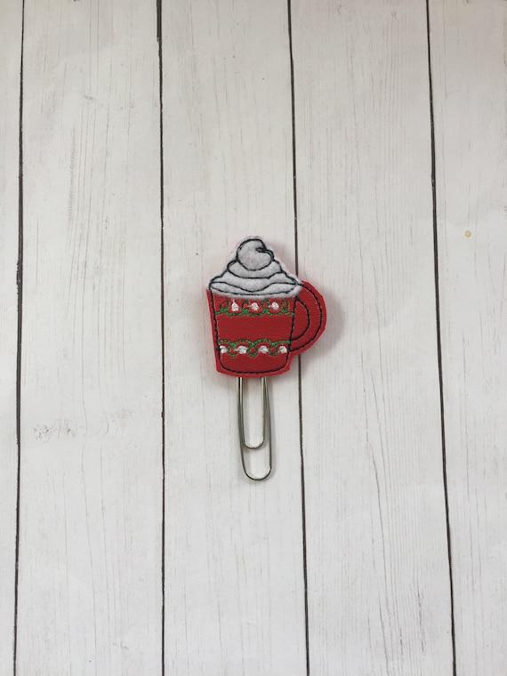Vinyl Hot Cocoa Clip/Planner Clip/Bookmark. Winter Planner Clip. Christmas Planner Clip. Coffee Planner Clip.