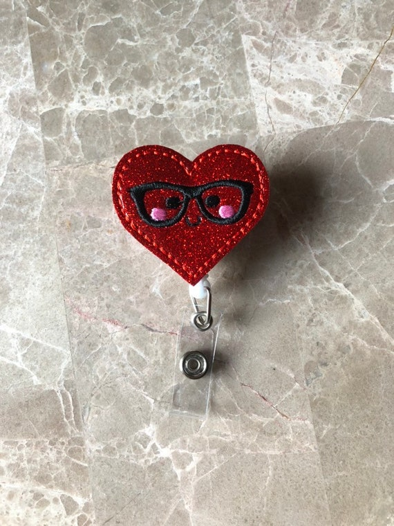 Valentine Geeky Heart Badge Reel/ Badge Reel/Nurse Badge Reel. Heart Badge Reel. Valentine badge reel