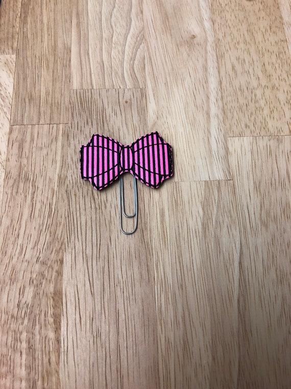 Pink & Black Stripe Vinyl Bow planner Clip/Planner Clip/Bookmark. Bow Planner Clip. Pink Bow Planner Clip. Barbie Bow Clip.