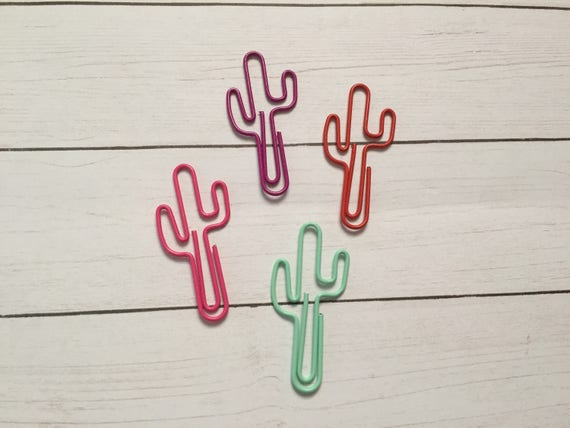 Colorful Cactus Paperclips, planner clip, bookmark. Cactus Planner Clip. Cactus Paperclip. Your Choice of Color