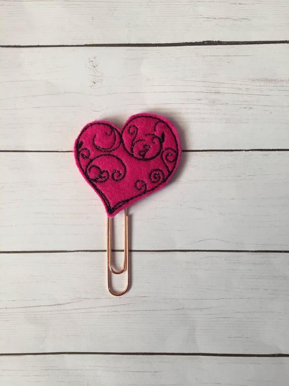 Felt Swirly Heart planner Clip/Planner Clip/Bookmark. Heart Planner Clip. Love Planner Clip. Valentine Planner Clip. Valentines Clip