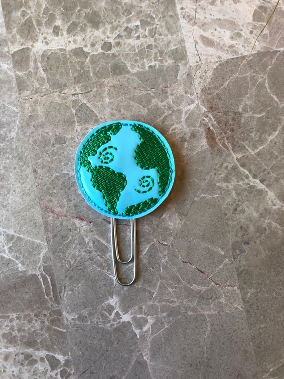 Earth Planner Clip/Planner Clip/Bookmark. Planet Planner Clip.  World Planner Clip