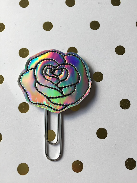 Holographic Flower planner Clip/Planner Clip/Bookmark. Flower Planner Clip. Holographic Planner Clip.