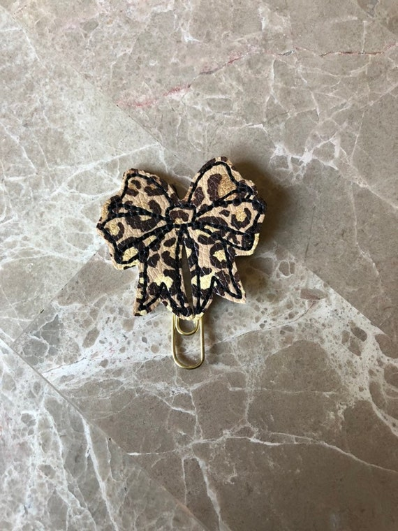 Leopard print Bow Clip/Planner Clip/Leopard Bow. Bow planner clip