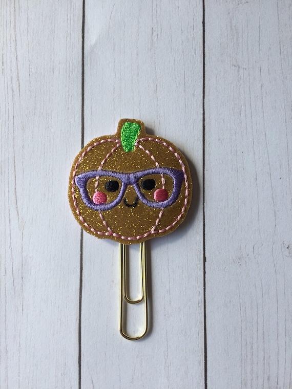 Glitter Geeky Pumpkin planner Clip/Planner Clip/Bookmark. Pumpkin planner clip. fall planner clip. Geeky Planner Clip. Nerdy Planner CLip